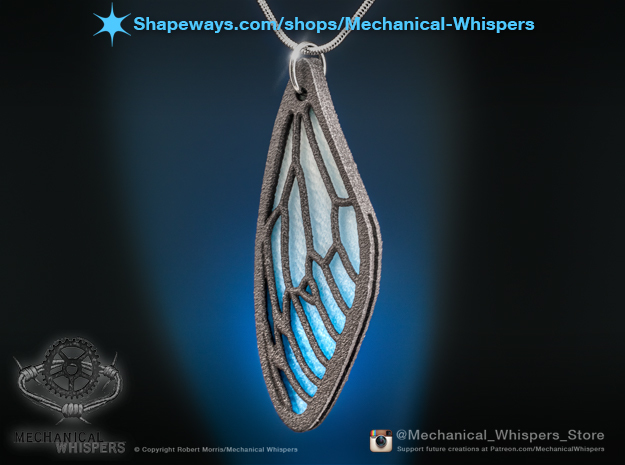 Cicada Wing Pendant - Outside in Matte Black Steel