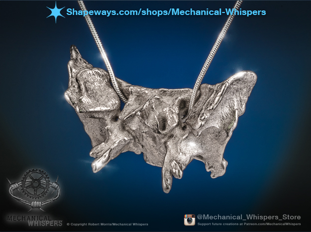 Human Sphenoid Bone Pendant in Polished Nickel Steel