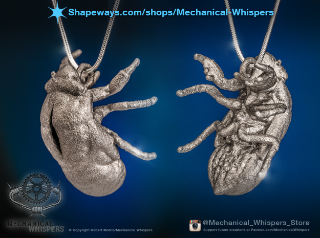Cicada Nymph Molt Pendant in Polished Nickel Steel