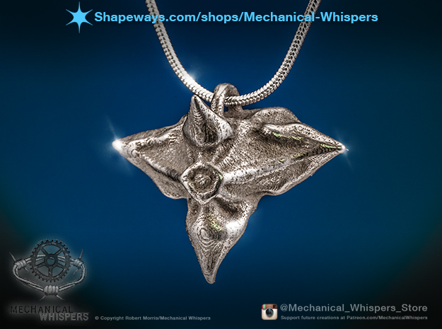 Caltrop Seed Pendant in Polished Nickel Steel