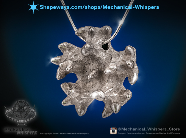 Knobby Starfish Center Pendant in Polished Nickel Steel