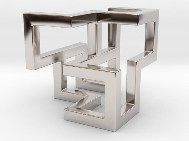 Cube Frame Pendant in Platinum