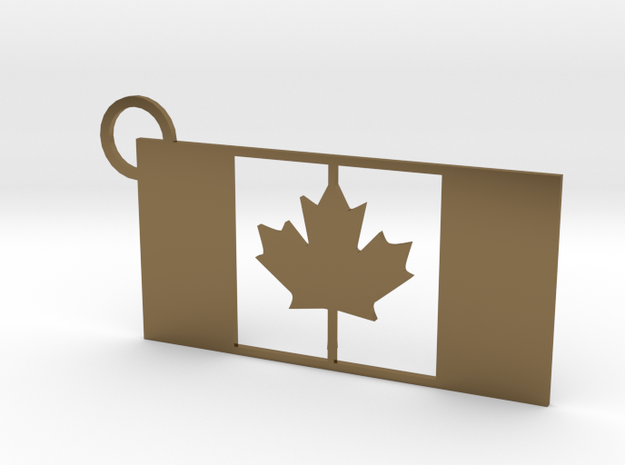 Canada Flag Keychain in Polished Bronze