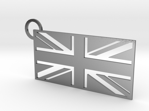 United Kingdom Flag Keychain in Polished Silver