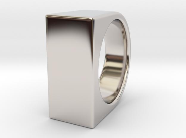 Signe Unique V - US10  - Signet Ring in Rhodium Plated Brass