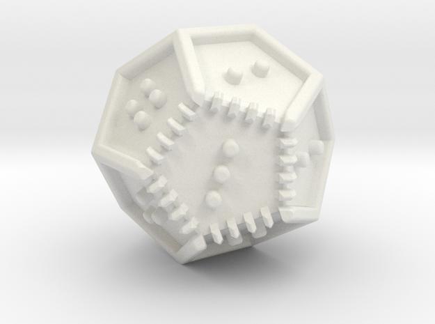 Braille Twenty-sided Die d12 in White Natural Versatile Plastic