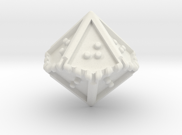 Braille Ten-sided Die d10 in White Natural Versatile Plastic