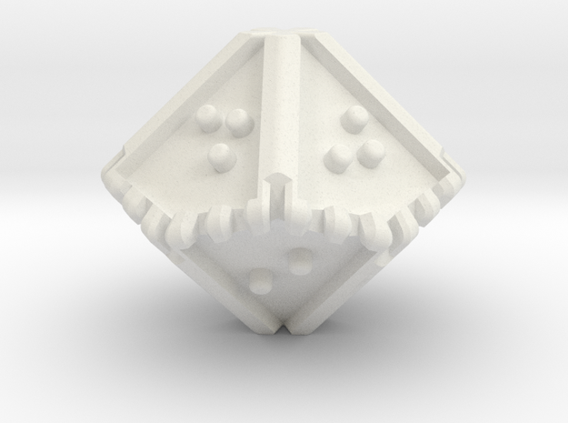 Braille Ten-sided, Blunt-tipped Die d10 in White Natural Versatile Plastic