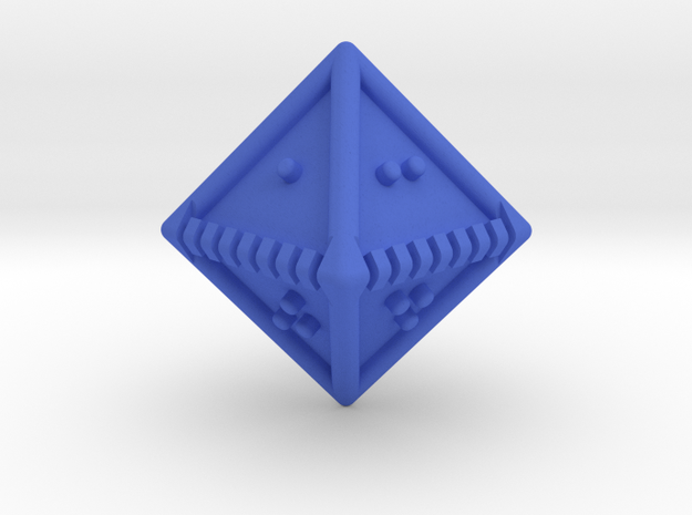 Braille Eight-sided Die d8 in Blue Strong & Flexible Polished