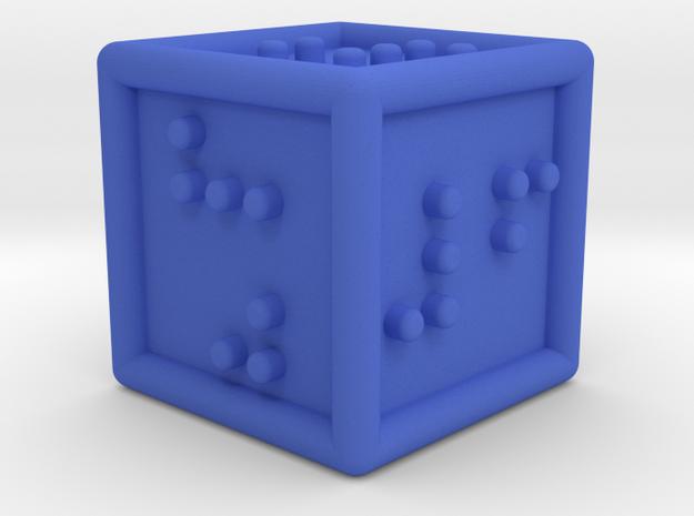 Braille Six-sided Die d6 in Blue Processed Versatile Plastic