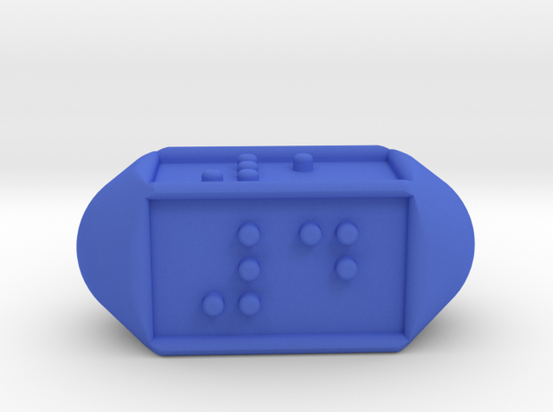 Braille Four-sided Die d4 in Blue Processed Versatile Plastic