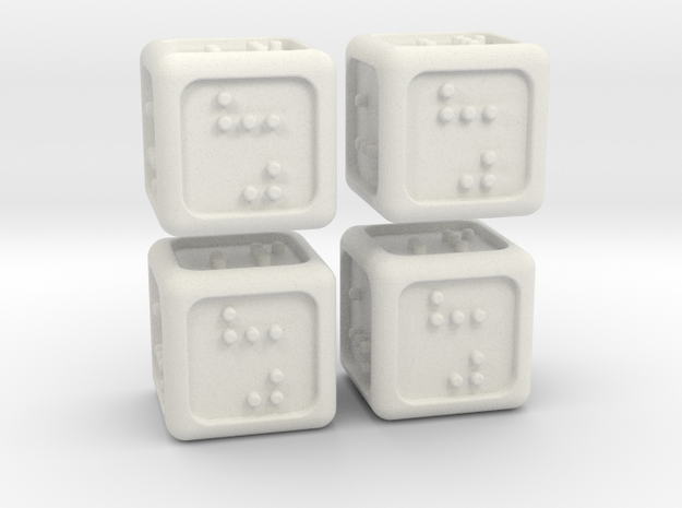 4 Braille Six-sided Dice Set (Curved Corners) in White Natural Versatile Plastic