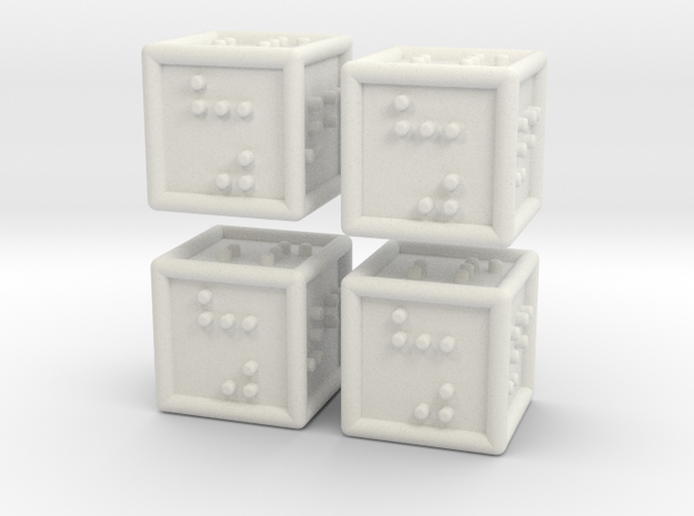 4 Braille Six-sided Dice Set in White Natural Versatile Plastic