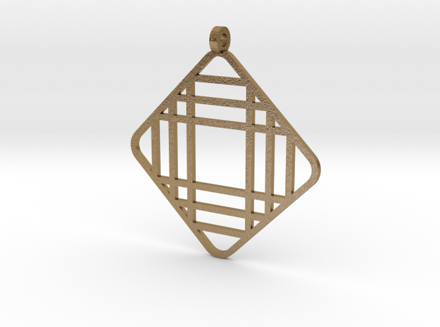 Grid 1 - Pendant in Polished Gold Steel