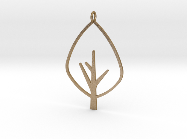 Tree - Pendant in Polished Gold Steel