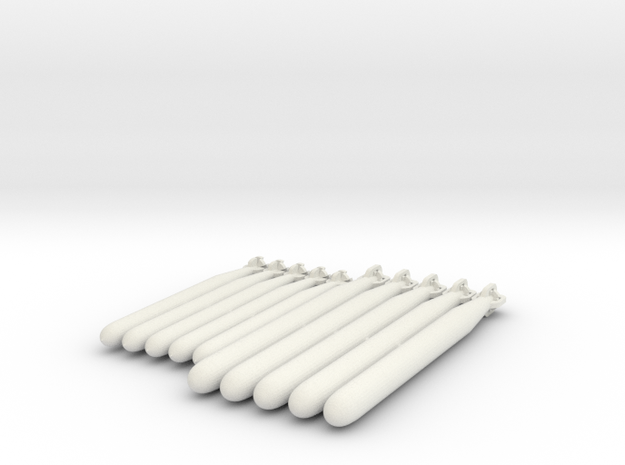 Torpedoes in White Natural Versatile Plastic