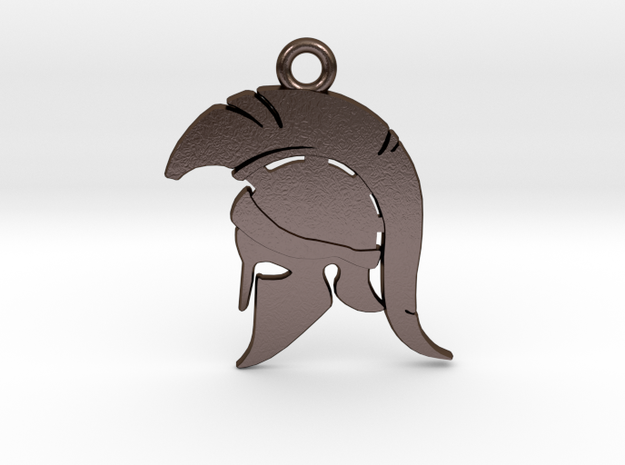 Spartan Warrior Helmet Pendant/Keychain in Polished Bronze Steel