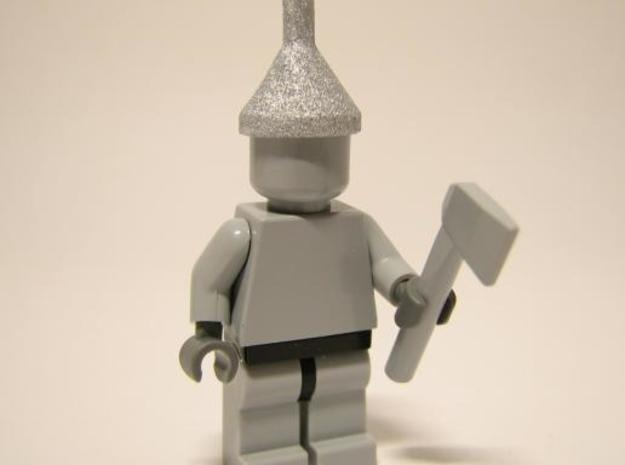 Minifig Headgear Funnel 3d printed Painted Silver