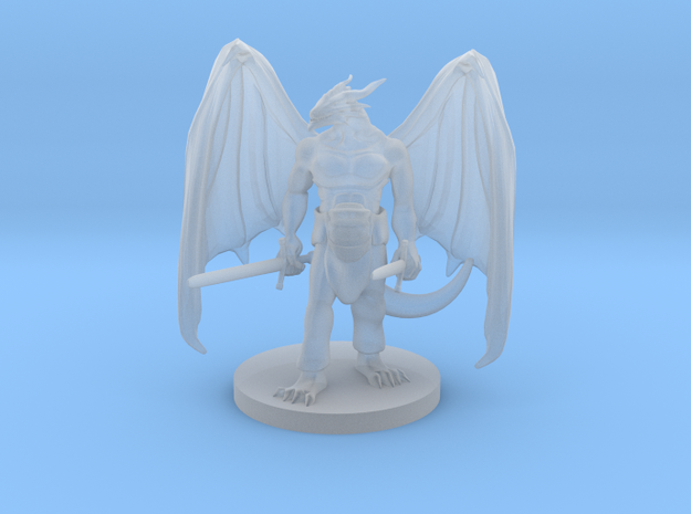 Dragonborn Two  Weapon Fighter with Wings in Smooth Fine Detail Plastic
