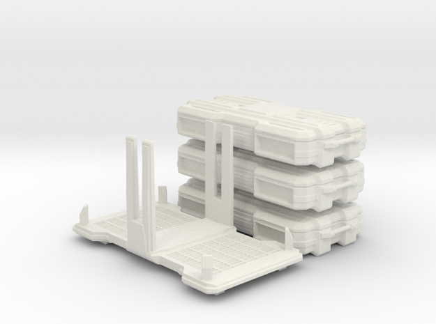 Stackable SciFi cargo boxes & rack in White Premium Versatile Plastic