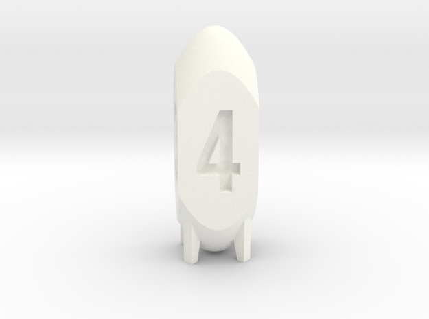 d4 missile (30% larger) in White Processed Versatile Plastic