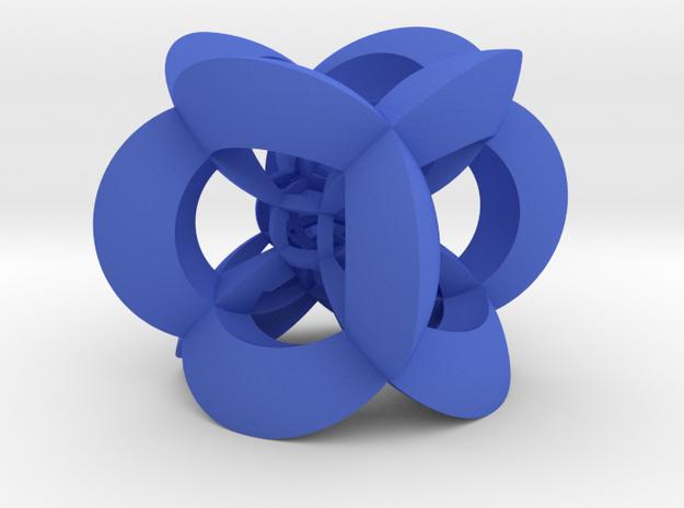 Inverted 3x3x3 Cube in Blue Processed Versatile Plastic
