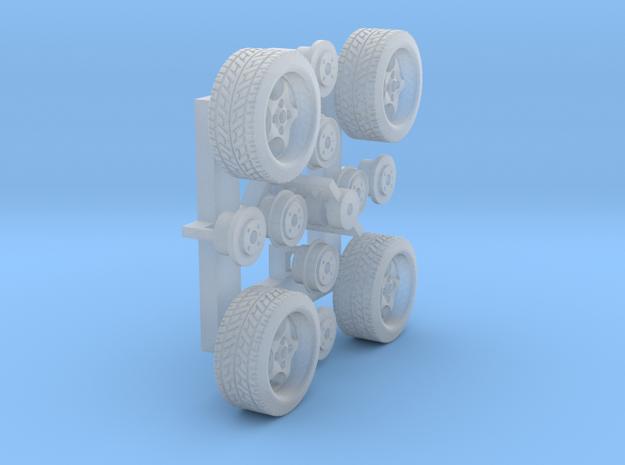 Felgen Borbet T 8x14 mit Reifen 195/45R14 (1:87) in Smoothest Fine Detail Plastic