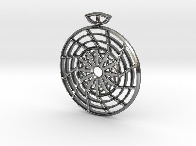 The Fan Pendant in Polished Silver