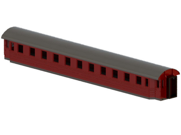 Co9b - Swedish passenger wagon in Smooth Fine Detail Plastic