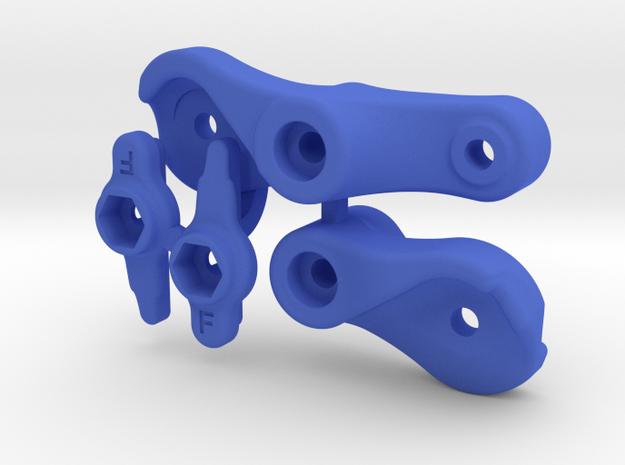 Vaterra Twin Hammers / GCM Plate Bell Crank Kit in Blue Processed Versatile Plastic
