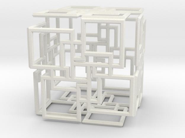 Cube spilat 1 in White Natural Versatile Plastic