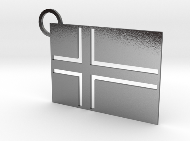 Iceland Flag Keychain in Polished Silver