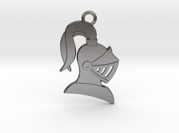Knight Helmet Pendant/Keychain in Polished Nickel Steel