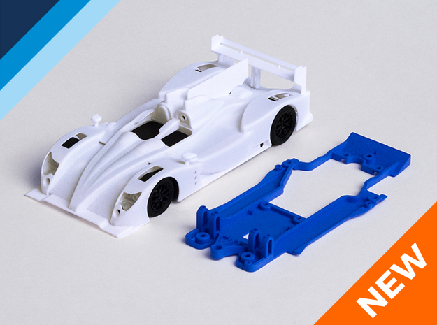 1/32 Oreca 03 Chassis for Slot.it pod in Blue Processed Versatile Plastic