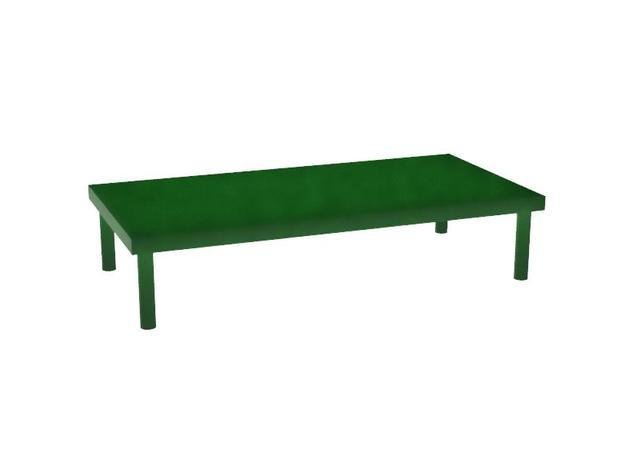 Model Bench Table in Red Processed Versatile Plastic