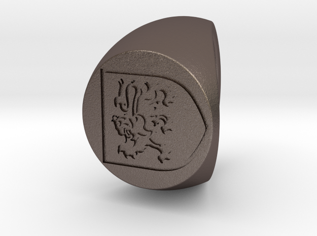 Custom Signet Ring 77 in Polished Bronzed Silver Steel