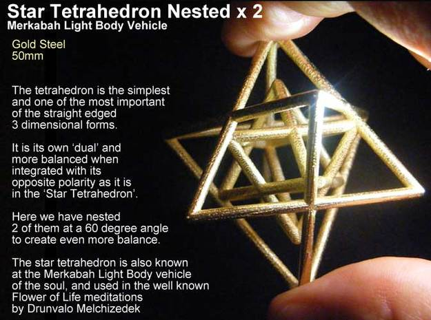 Sacred Geometry: Merkabah2 50mm 2 Nested Star Tetr in 14k Gold Plated Brass