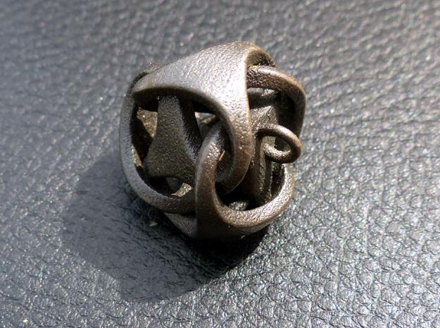 Tetrahedron Pendant 3d printed Matt Black Steel