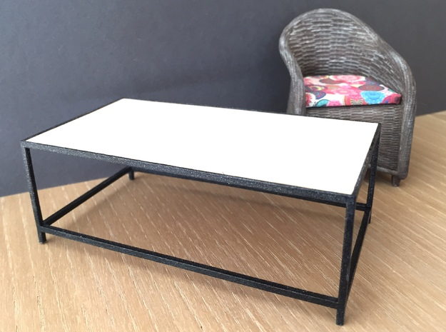 Lounge Table square, rectangular 1:12 in White Processed Versatile Plastic