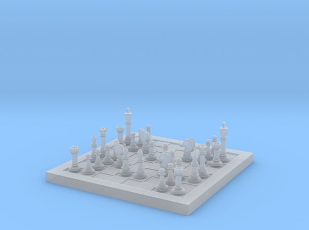 1/18 Scale Chess Board Mid-game (v01) in Smooth Fine Detail Plastic