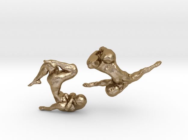 Sculptural Nudes Cufflinks in Polished Gold Steel