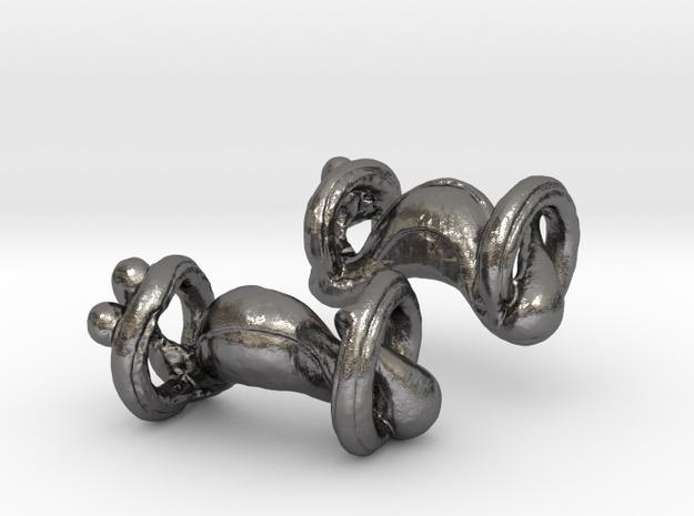 Organic body geometry cufflinks in Polished Nickel Steel