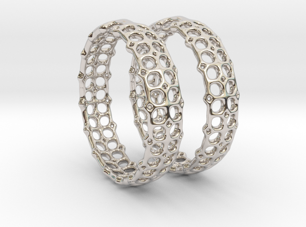 Openwork Hoops - Earrings in Rhodium Plated Brass