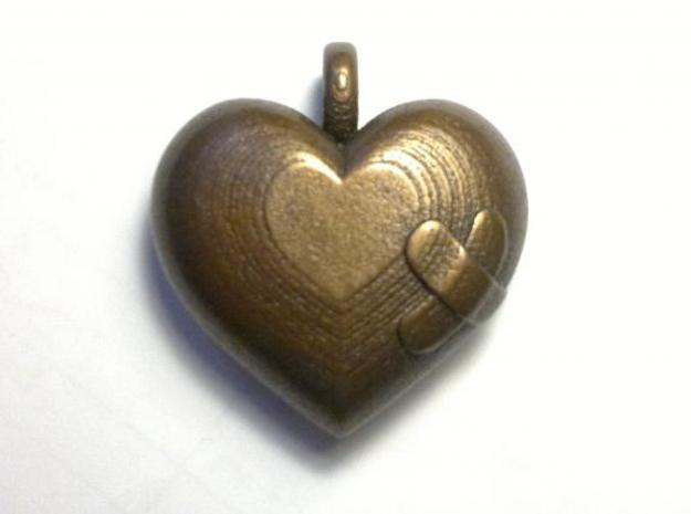 Wounded Heart Pendant 3d printed Antique Bronze Matte