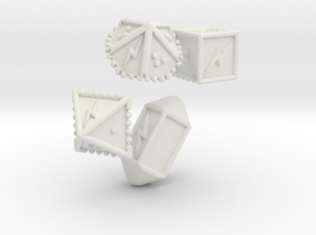Braille Lightning Gaming Dice in White Natural Versatile Plastic