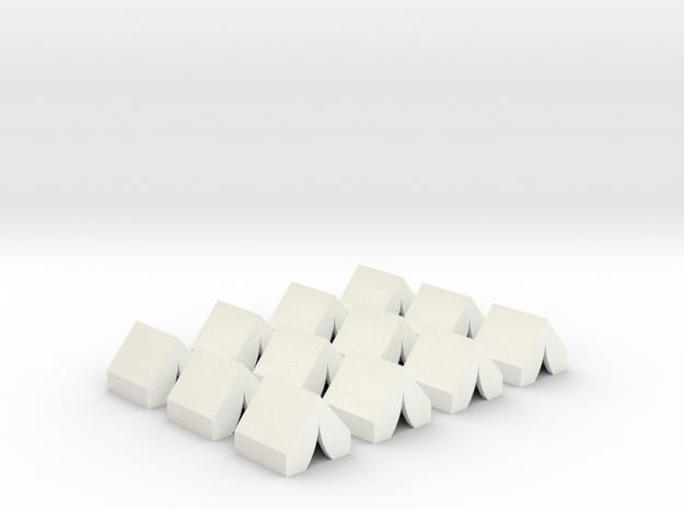 Tents, a dozen models in White Processed Versatile Plastic