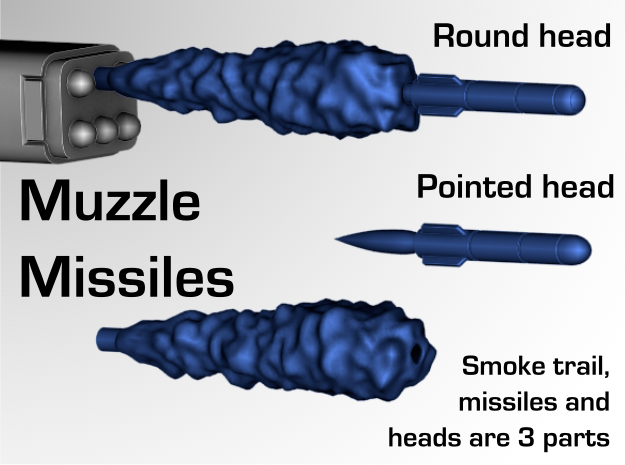 Missiles &  Smoke trails in Smooth Fine Detail Plastic