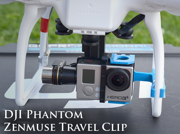 ZenClip - DJI Phantom 1 - Zenmuse H3-2D in White Strong & Flexible