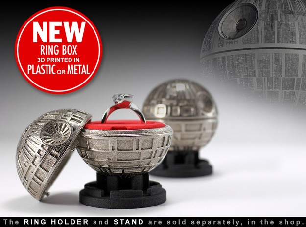 Death Star Ring Box - Proposal/Engagement Ring Box in White Processed Versatile Plastic