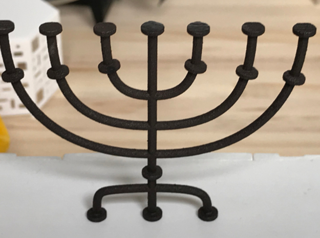 Menorah candlestick 1:12 scale model in Matte Black Steel